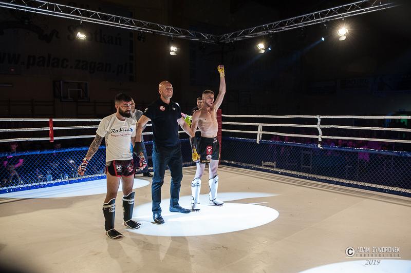 Charytatywna Gala Sportów Walki Żagań 13.04.2019 walka 8. Rafał Sawerwain (Nak Muay Rewal) vs Marcin Borochowski (Malinowski Team Żagań) K-1 -63 kg