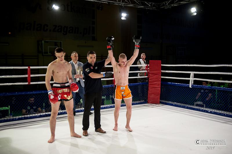 Charytatywna Gala Sportów Walki Żagań 13.04.2019/walka 12. Michał Repuła ( Bokser Kożuchów) vs Krystian Bajerski (Malinowski Team Żagań)  K-1 –71kg